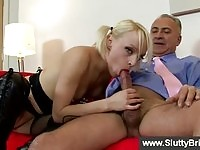 Voluptuous British babe hammered and draining an old cock